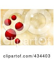 Royalty Free RF Clipart Illustration Of A Red Christmas Bauble Background With Golden Halftone Sparkles