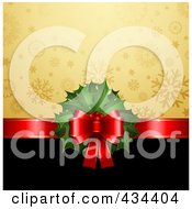 Royalty Free RF Clipart Illustration Of A Red Ribbon With Christmas Holly Dividing A Gold Snowflake And Black Background by KJ Pargeter