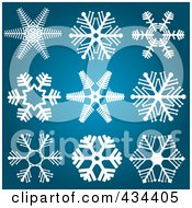 Royalty Free RF Clipart Illustration Of A Digital Collage Of White Snowflake Designs On A Blue Background