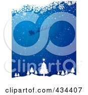 Royalty Free RF Clipart Illustration Of A Blue Christmas Background Of Santa Flying Over The Moon Abouve A Tree In The Woods With White Snowflake Grunge