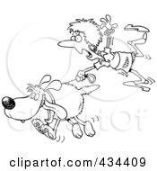 Royalty Free RF Clipart Illustration Of A Line Art Design Of A Woman Trailing After A Dog On A Leash