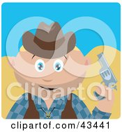 Clipart Illustration Of A Caucasian Cowboy Kid Holding A Pistil by Dennis Holmes Designs