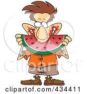 Messy Man Eating Watermelon