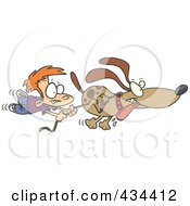 Royalty Free RF Clipart Illustration Of A Boy Trailing After A Dog On A Leash