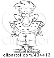 Royalty Free RF Clipart Illustration Of A Line Art Design Of A Man Eating Watermelon