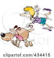 Royalty Free RF Clipart Illustration Of A Woman Trailing After A Dog On A Leash