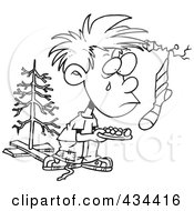 Royalty Free RF Clipart Illustration Of A Line Art Design Of A Poor Christmas Boy Wanting More