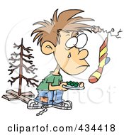 Royalty Free RF Clipart Illustration Of A Poor Christmas Boy Wanting More