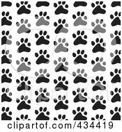 Black And White Dog Paw Print Pattern Background