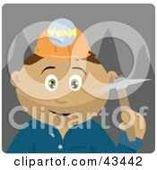 Clipart Illustration Of A Latin American Miner Man Wearing A Headlamp And Holding A Pickaxe