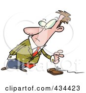 Royalty Free RF Clipart Illustration Of A Businessman Reaching For A Wallet On A String by toonaday