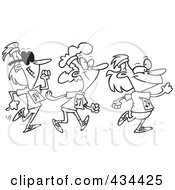 Royalty Free RF Clipart Illustration Of A Line Art Design Of Three Lady Walkers