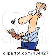 Royalty Free RF Clipart Illustration Of A Fly Emerging From A Broke Mans Wallet by toonaday