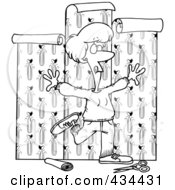 Royalty Free RF Clipart Illustration Of A Line Art Design Of A Woman Using Her Entire Body To Hang Wallpaper
