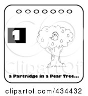 Royalty Free RF Clipart Illustration Of A Black And White Partridge In A Pear Tree With Text And Number One
