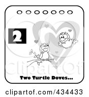 Royalty Free RF Clipart Illustration Of Two Black And White Turtle Doves With Text And Number Two