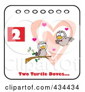 Royalty Free RF Clipart Illustration Of Two Turtle Doves With Text And Number Two