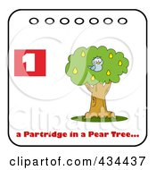 Royalty Free RF Clipart Illustration Of A Blue Partridge In A Pear Tree With Text And Number One
