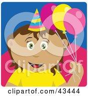 Clipart Illustration Of A Latin American Birthday Girl Holding Balloons