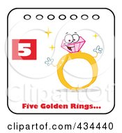 Royalty Free RF Clipart Illustration Of A Diamond Ring On A Christmas Calendar With Text And Number Five