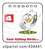 Royalty Free RF Clipart Illustration Of A Bird Calling On A Christmas Calendar With Text And Number Four