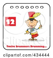 Royalty Free RF Clipart Illustration Of A Drummer Drumming On A Christmas Calendar With Text And Number Twelve by Hit Toon