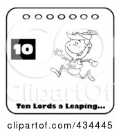 Royalty Free RF Clipart Illustration Of A Black And White Lord Leaping On A Christmas Calendar With Text And Number Ten by Hit Toon