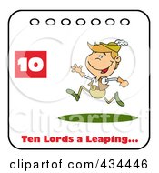 Royalty Free RF Clipart Illustration Of A Lord Leaping On A Christmas Calendar With Text And Number Ten