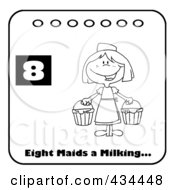 Royalty Free RF Clipart Illustration Of A Black And White Maid Milking On A Christmas Calendar With Text And Number Eight by Hit Toon