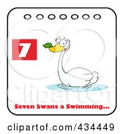 Swan Swimming On A Christmas Calendar With Text And Number Seven