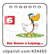 Royalty Free RF Clipart Illustration Of A Laying Goose On A Christmas Calendar With Text And Number Six