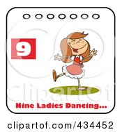 Royalty Free RF Clipart Illustration Of A Lady Dancing On A Christmas Calendar With Text And Number Nine by Hit Toon