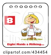 Royalty Free RF Clipart Illustration Of A Maid Milking On A Christmas Calendar With Text And Number Eight by Hit Toon