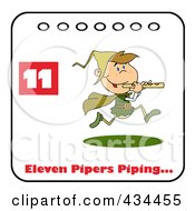 Royalty Free RF Clipart Illustration Of A Piper Piping On A Christmas Calendar With Text And Number Eleven by Hit Toon