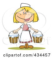 Royalty Free RF Clipart Illustration Of A Maid Milking