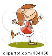 Royalty Free RF Clipart Illustration Of A Lady Dancing by Hit Toon