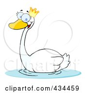 Crowned Swan Swimming