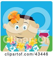 Clipart Illustration Of A Mexican Man In A Hawaiian Lei Drinking A Cocktail On Vacation by Dennis Holmes Designs