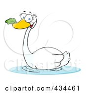 Royalty Free RF Clipart Illustration Of A Swan Swimming