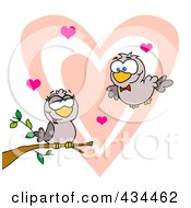 Royalty Free RF Clipart Illustration Of Two Turtle Doves by Hit Toon