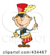 Royalty Free RF Clipart Illustration Of A Drummer Drumming