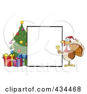 Royalty Free RF Clipart Illustration Of A Blank Sign By A Christmas Tree With A Bell Ringer Turkey