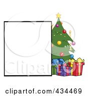 Royalty Free RF Clipart Illustration Of A Blank Sign By A Christmas Tree With Gifts by Hit Toon
