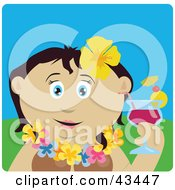 Clipart Illustration Of A Mexican Woman In A Hawaiian Lei Drinking A Cocktail On Vacation by Dennis Holmes Designs