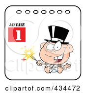 Royalty Free RF Clipart Illustration Of A New Year Baby Holding A Sparkler On A Calendar by Hit Toon