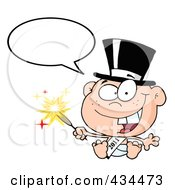 Royalty Free RF Clipart Illustration Of A New Year Baby Holding A Sparkler With A Word Balloon by Hit Toon