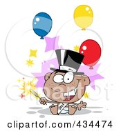 Royalty Free RF Clipart Illustration Of A Black New Year Baby Holding A Sparkler With Balloons by Hit Toon