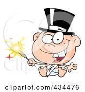 Royalty Free RF Clipart Illustration Of A New Year Baby Holding A Sparkler by Hit Toon