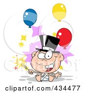 Royalty Free RF Clipart Illustration Of A New Year Baby Holding A Sparkler With Balloons by Hit Toon