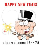 Royalty Free RF Clipart Illustration Of A New Year Baby Holding A Sparkler With Happy New Year Text by Hit Toon